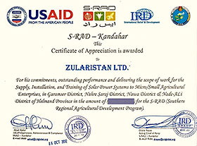 Zularistan Recommendation Provision and Installation of 300 Solar Home Systems for shopkeeper in Helmand Province in 2012
